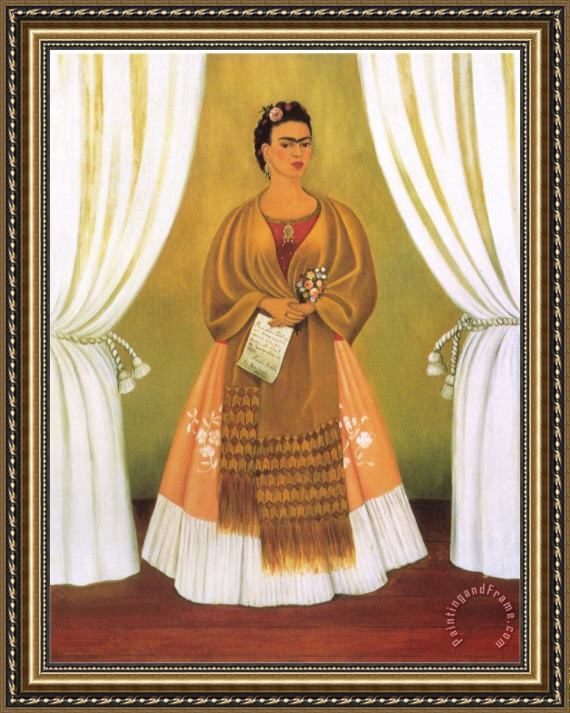 Frida Kahlo Self Portrait Dedicated Tomleon Trotsky Between The Curtains 1937 Framed Painting