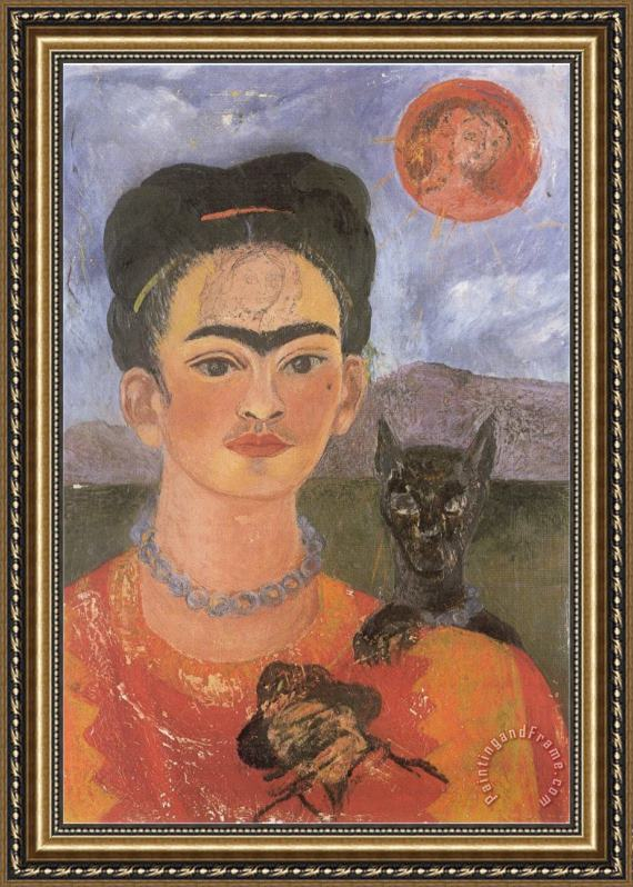 Frida Kahlo Self Portrait with a Portrait of Diego on The Breast And Maria Between The Eyebrows 1954 Framed Print