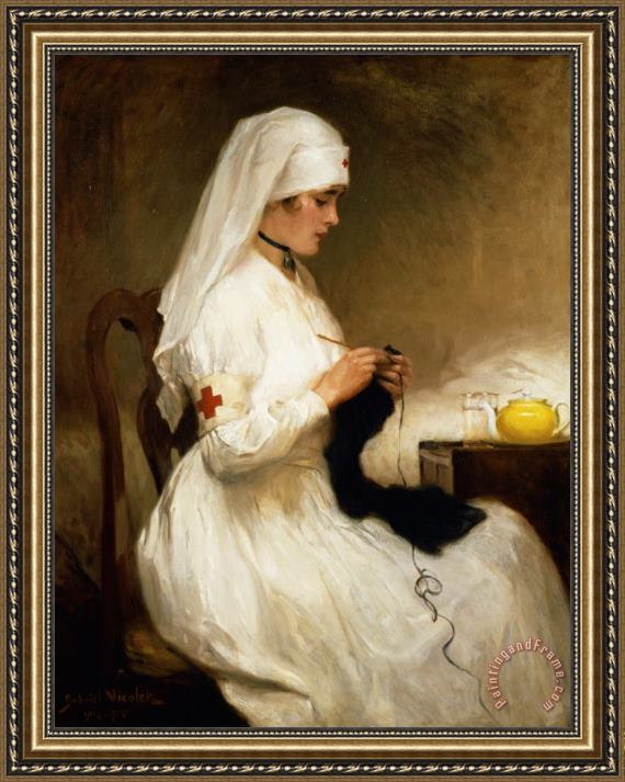 Gabriel Emile Niscolet Portrait of a Nurse from the Red Cross Framed Print
