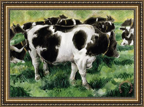 Gareth Lloyd Ball Friesian Cows Framed Print