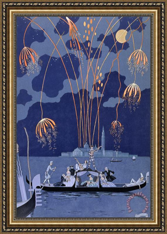 Georges Barbier Fireworks in Venice Framed Print