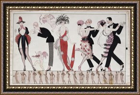 Tango Framed Paintings - The Tango by Georges Barbier