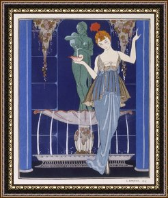 Tango Framed Paintings - Tunic Dress by Paquin Draped Tango Skirt with Front Split And Train by Georges Barbier