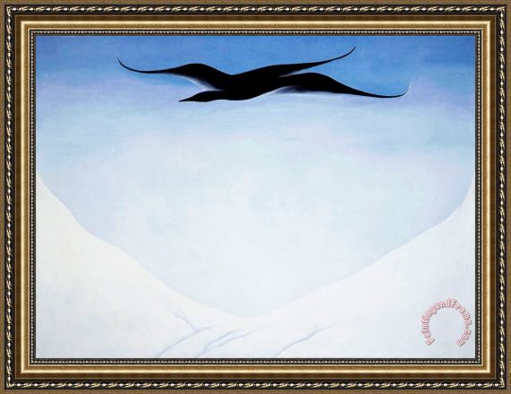 Georgia O'keeffe A Black Bird with Snow Covered Red Hills Framed Print