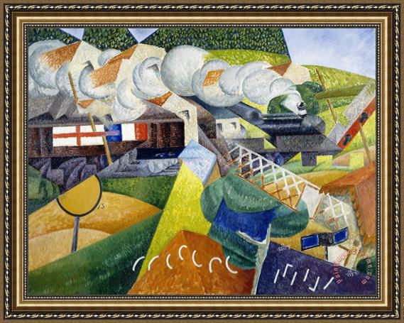 gino severini red cross train passing a village train de