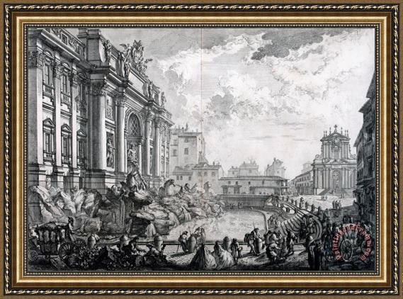 Giovanni Battista Piranesi Side View of The Trevi Fountain, Formerly The Acqua Vergine From Vedute Di Roma (views of Rome) Framed Print