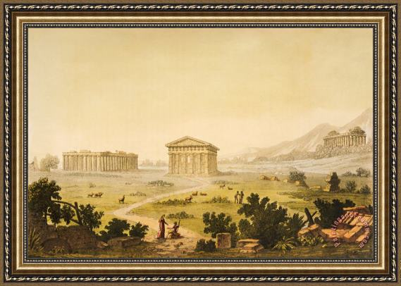 Giulio Ferrario View Of Temples In Paestum At Syracuse Framed Painting