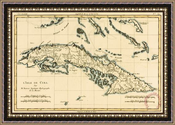Guillaume Raynal Antique Map of Cuba Framed Print