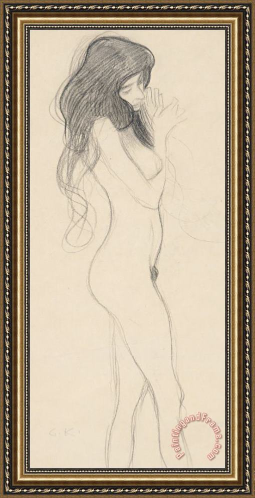Gustav Klimt Female Nude Standing Drawing Framed Print
