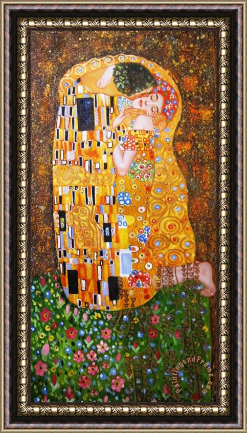 Gustav Klimt The Kiss Framed Print