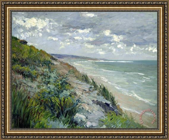 Gustave Caillebotte Cliffs by the sea at Trouville Framed Print