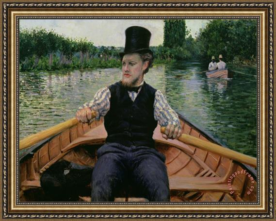 Gustave Caillebotte Rower in a Top Hat Framed Print
