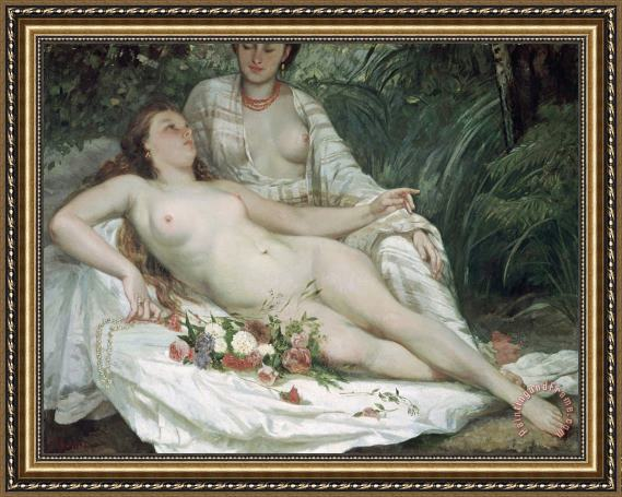 Gustave Courbet Bathers or Two Nude Women Framed Painting