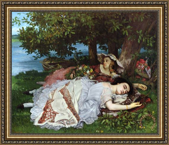 Gustave Courbet Girls on the Banks of the Seine Framed Print