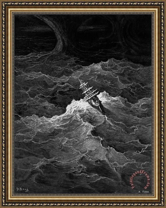 Gustave Dore Ship In Stormy Sea Framed Print