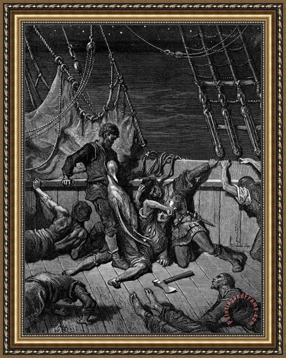 Gustave Dore The Sailors Curse The Mariner Forced To Wear The Dead Albatross Around His Neck Framed Painting