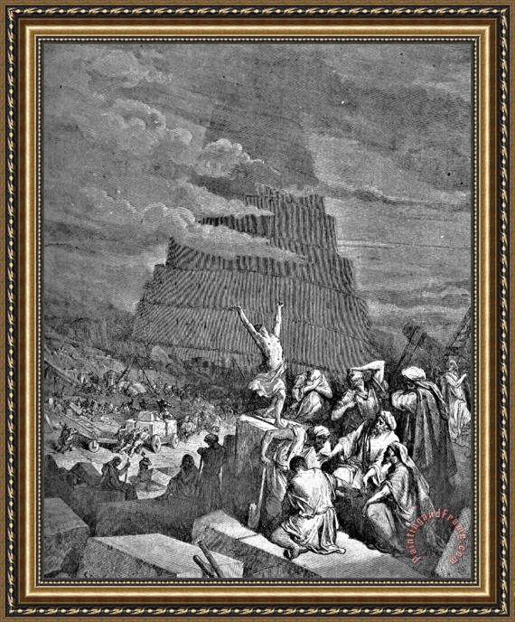 Gustave Dore Tower Of Babel Bible Illustration Framed Print