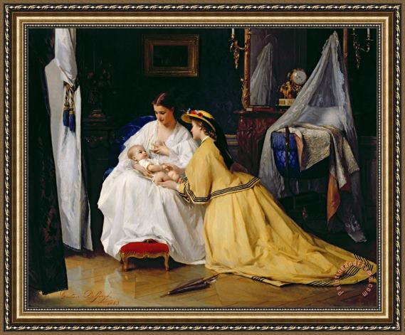 Gustave Leonard de Jonghe First Born Framed Painting