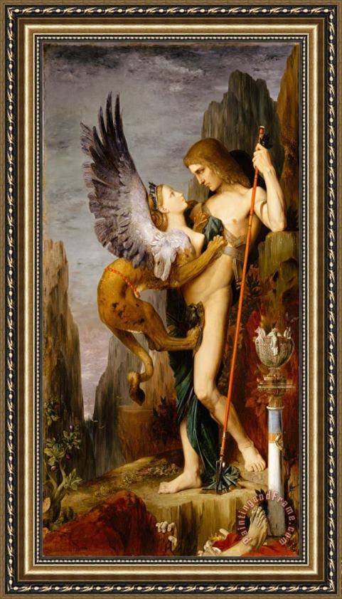 Gustave Moreau Oedipus And The Sphinx Framed Print