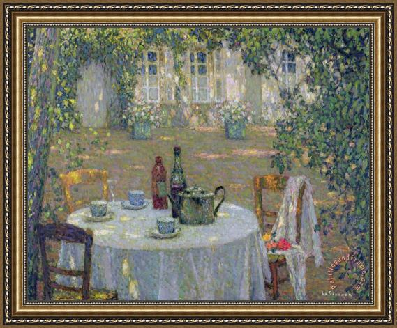 Henri Le Sidaner The Table in the Sun in the Garden Framed Painting