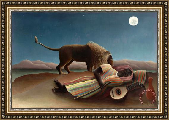 Henri Rousseau The Sleeping Gypsy Framed Print