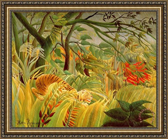 Henri Rousseau Tiger in a Tropical Storm Framed Print