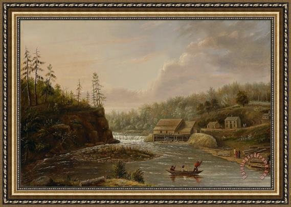 Henry Lewis Cheevers Mill On The St. Croix River Framed Painting