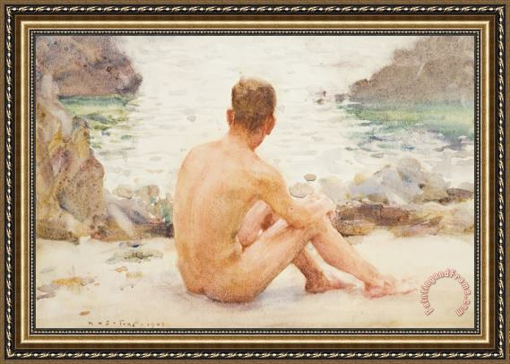 Henry Scott Tuke Charlie Seated on the Sand Framed Painting