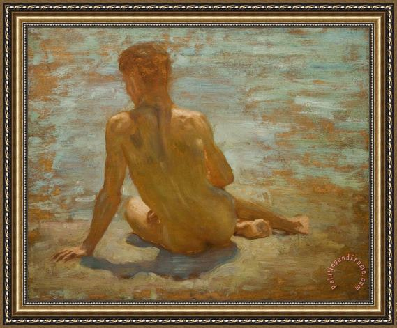 Henry Scott Tuke Sketch of Nude Youth Study for Morning Spelendour Framed Painting