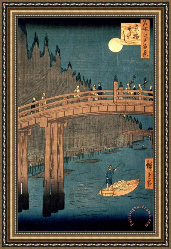 Hiroshige Kyoto bridge by moonlight Framed Painting