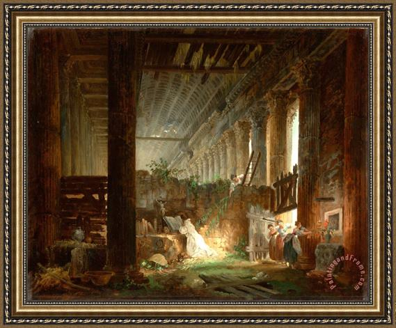 Hubert Robert A Hermit Praying in The Ruins of a Roman Temple Framed Painting