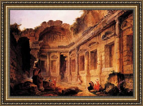 Hubert Robert Interior of The Temple of Diana at Nmes Framed Painting