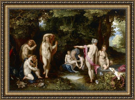 Jan Breughel Diana And Actaeon Framed Painting