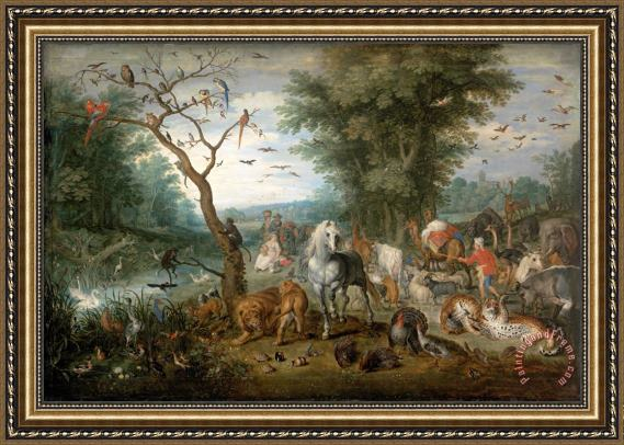 Jan Breughel Paradise Landscape with Animals Framed Painting