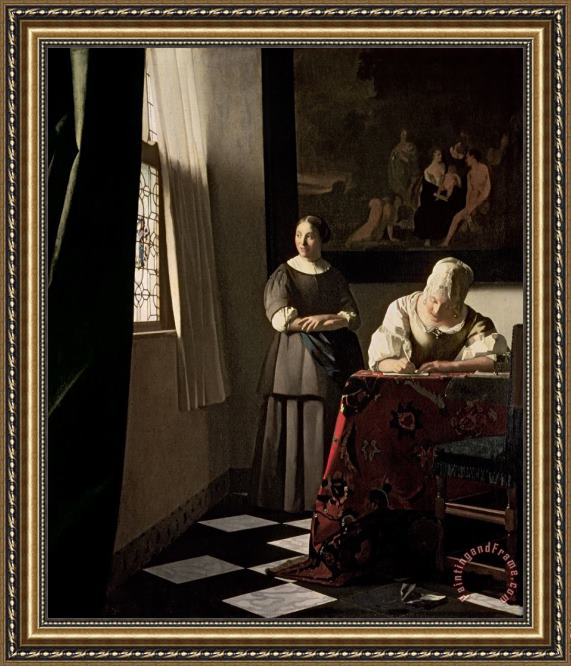 Jan Vermeer Lady writing a letter with her Maid Framed Print