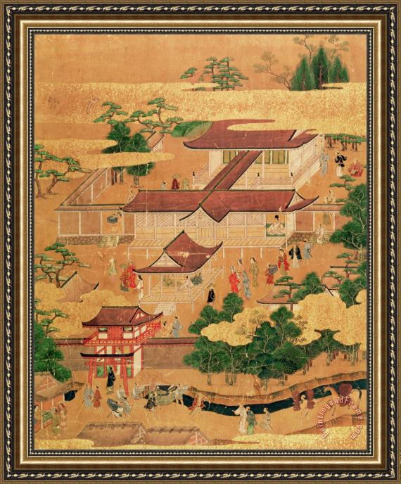 Japanese School The Life and Pastimes of the Japanese Court - Tosa School - Edo Period Framed Painting
