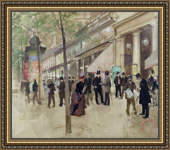 Jean Beraud The Boulevard Montmartre and the Theatre des Varietes Framed Print