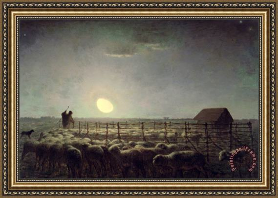 Jean-Francois Millet The Sheepfold Moonlight Framed Print