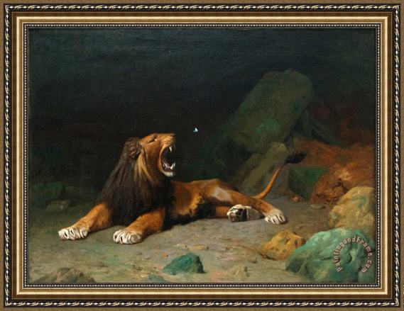 Jean Leon Gerome Lion Snapping at a Butterfly Framed Print