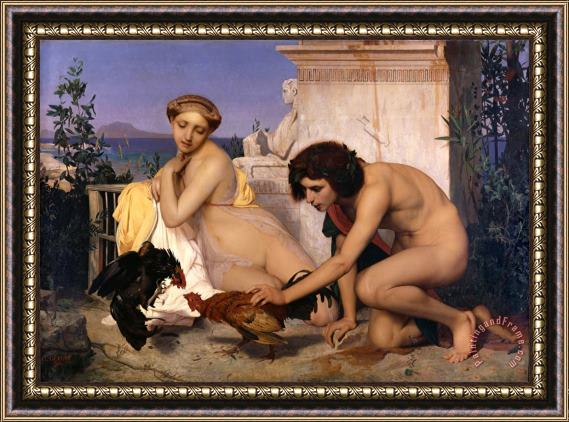 Jean Leon Gerome Young Greeks Attending a Cock Fight Framed Print