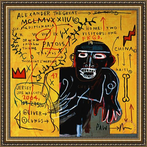 Jean-michel Basquiat All Colored Cast Part III Framed Painting
