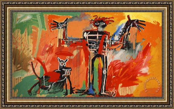 Jean-michel Basquiat Boy And Dog in a Johnnypump Framed Print
