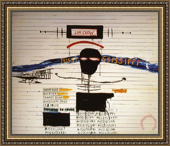 Jean Michel Basquiat Jim Crow Framed Painting For Sale
