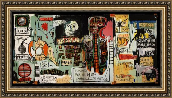 Jean Michel Basquiat Notary Framed Painting For Sale