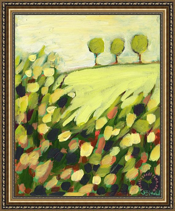 Jennifer Lommers Three Trees on a Hill Framed Painting