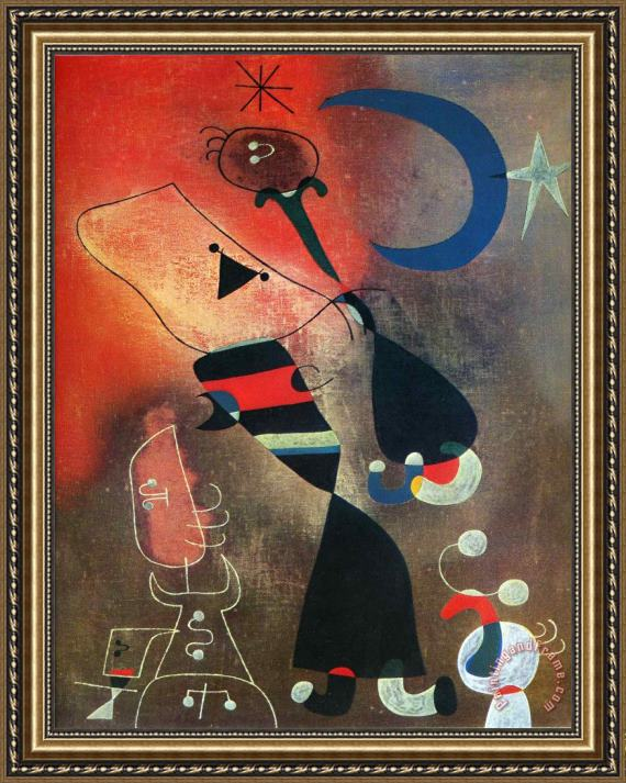 Joan Miro Woman And Bird in The Moonlight Framed Painting