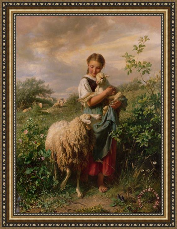 Johann Baptist Hofner The Shepherdess Framed Print