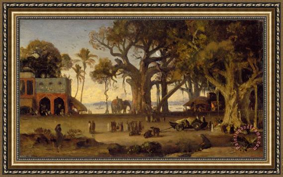 Johann Zoffany Moonlit Scene of Indian Figures and Elephants among Banyan Trees Framed Print