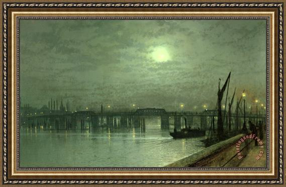 John Atkinson Grimshaw Battersea Bridge by Moonlight Framed Painting