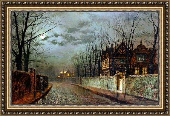 John Atkinson Grimshaw Old English House Moonlight After Rain 1883 Framed Print For Sale